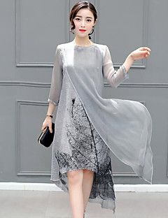 7823e26c Women's Plus Size Casual/Daily Simple Loose Dress,Print Round Neck Midi ½  Length Sleeve Gray Rayon Spring Summer Mid Rise Inelastic Medium – USD $  22.99