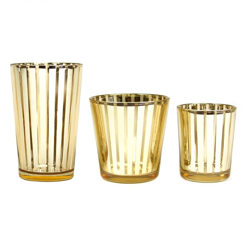 Striped Votive Candle Holders - 4 Gold [424482] : Wholesale Wedding ...