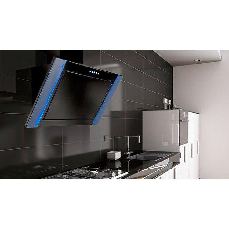 90cm angled led designer range cooker hood black kitchen. Black Bedroom Furniture Sets. Home Design Ideas