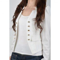 $11.94 Stylish Stand Collar Long Sleeves Double-Breasted Embellished Slimming Fit Blazers For Women