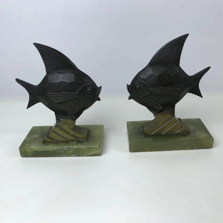 Pair Of Bronze Brass Onyx Art Deco Fish Bookends Germany Vintage Bookends Bookends Deco Bronzes