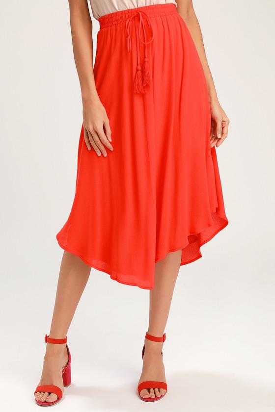 3630d2c50 Lulus   Regatta Red Tassel Midi Skirt   Size Large   100% Rayon in ...