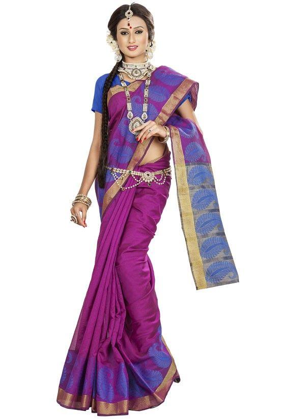 Magenta and Beige Banarasi Silk Saree
