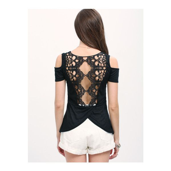 Open Shoulder Lace Back T-shirt - Black (330 MXN) ❤ liked on Polyvore featuring tops, t-shirts, cut shoulder tops, cut out shoulder tee, cold shoulder t shirt, cut out shoulder top and open shoulder tee