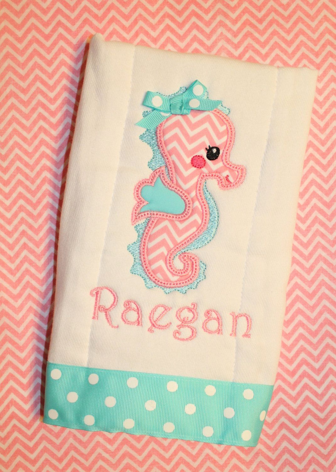 Light pink chevron seahorse burp cloth personalized with name light pink chevron seahorse burp cloth personalized with name seahorse monogram girl baby shower baby gift custom pink burp rag nautical personalized aqua negle Images