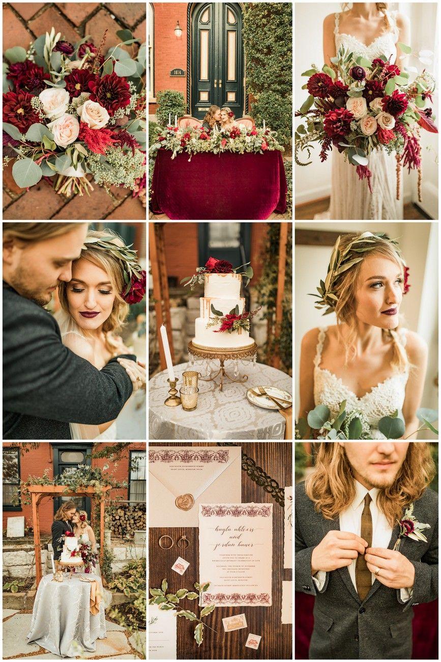 boho-inspired burgundy, ivory + green wedding | burgundy