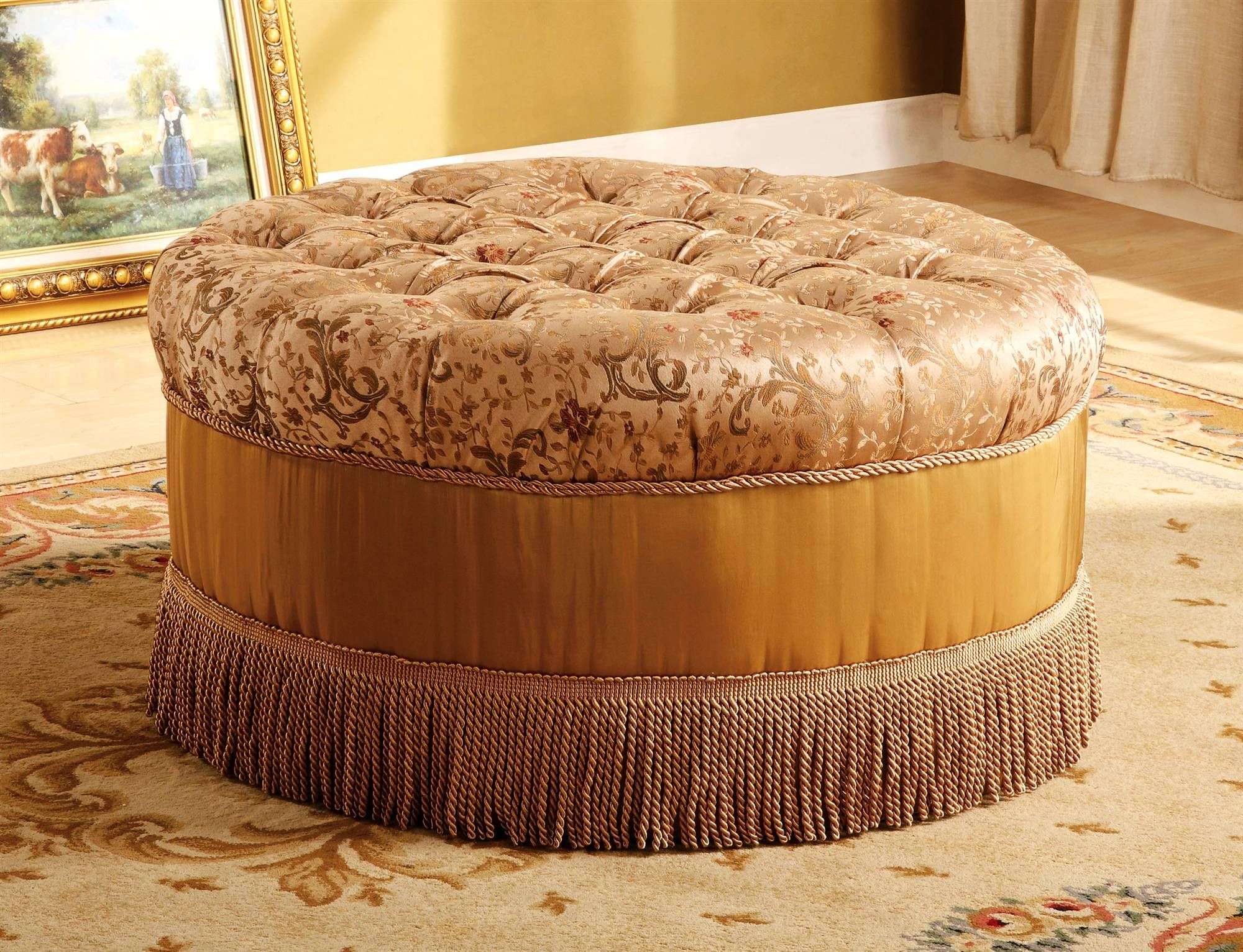 Round Tufted Storage Ottoman Round Ottoman W Tufted Cushion Top In Floral Fabric Decorative Tufted Ottoman Coffee Table Ottoman Round Tufted Ottoman [ 1532 x 2000 Pixel ]