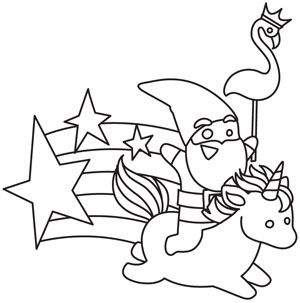 A gnome rides a unicorn in a design overflowing with magic