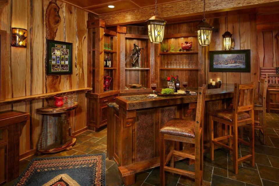Rustic Kitchen Bar Ideas With Images Rustic Basement Bar