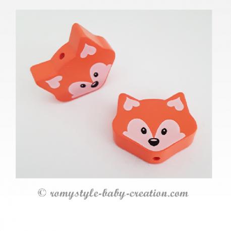 Rose clair Perle en bois de 25 mm Perle 3D Tête de chat
