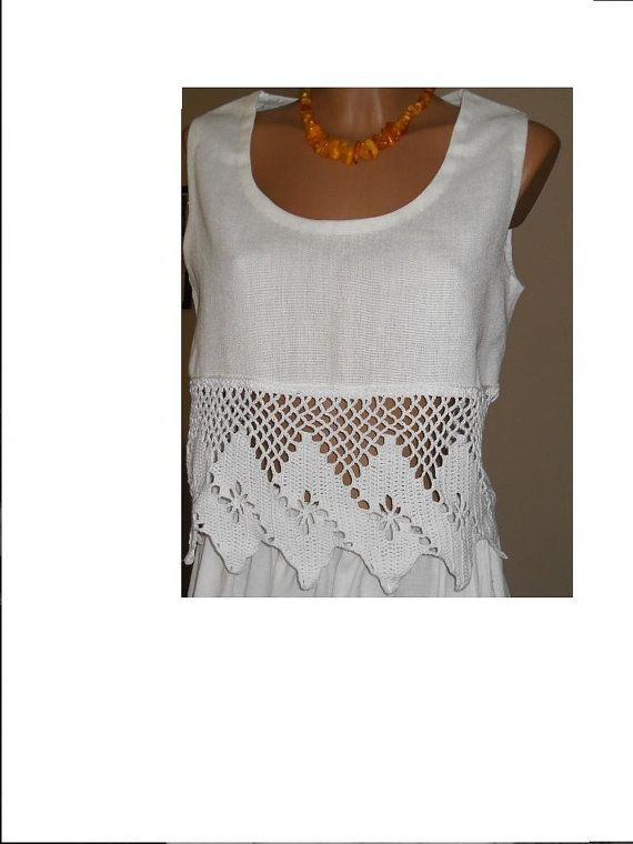 White linen тор , hand-knitted lace crochet | Cordones, Blanco y ...