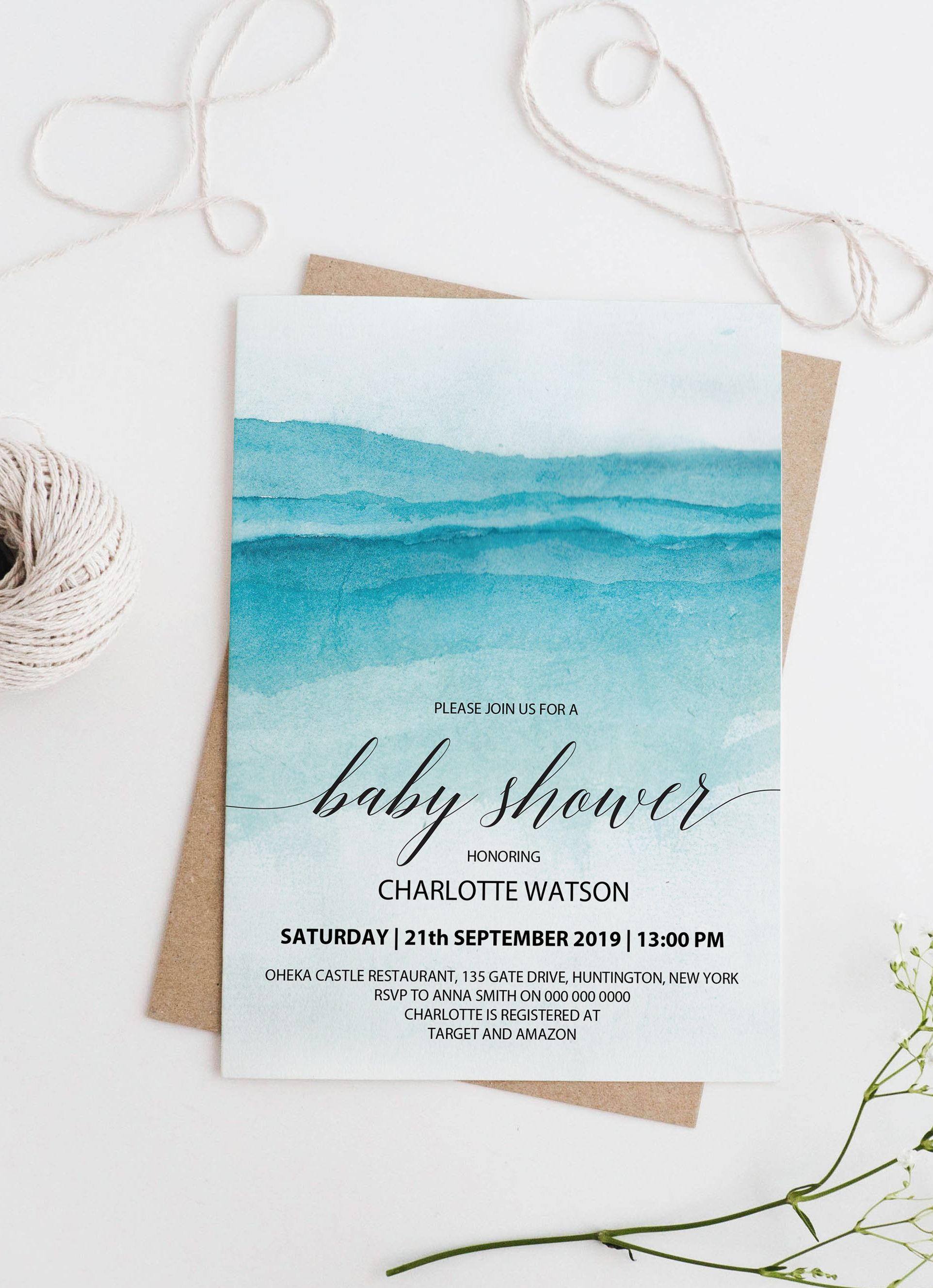 Beach Baby Shower Invitation Printable Instant Download Nautical Boy Baby Shower Invites Blue