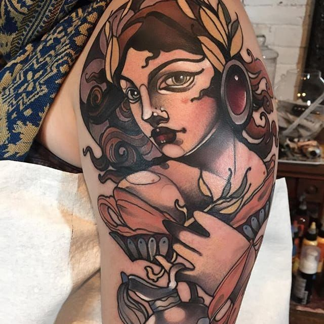 Mythological neo traditional tattoo by Gia Rose GiaRose neotraditional woman