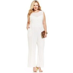 Spense Plus Size Sleeveless Illusion Jumpsuit Dresses And