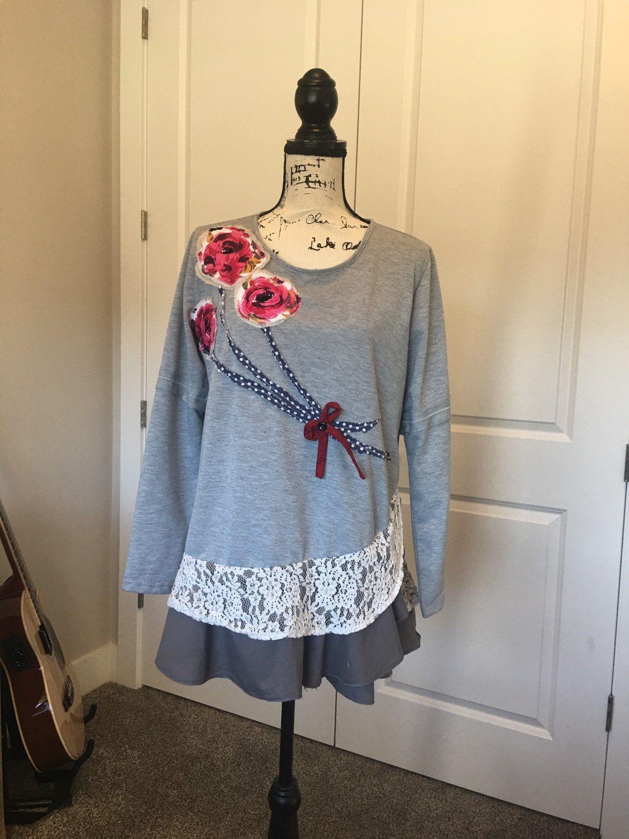 146c5486fea0c Women's Tunic XL Plus Vintage Gypsy Dress Shabby Chic Clothing ...