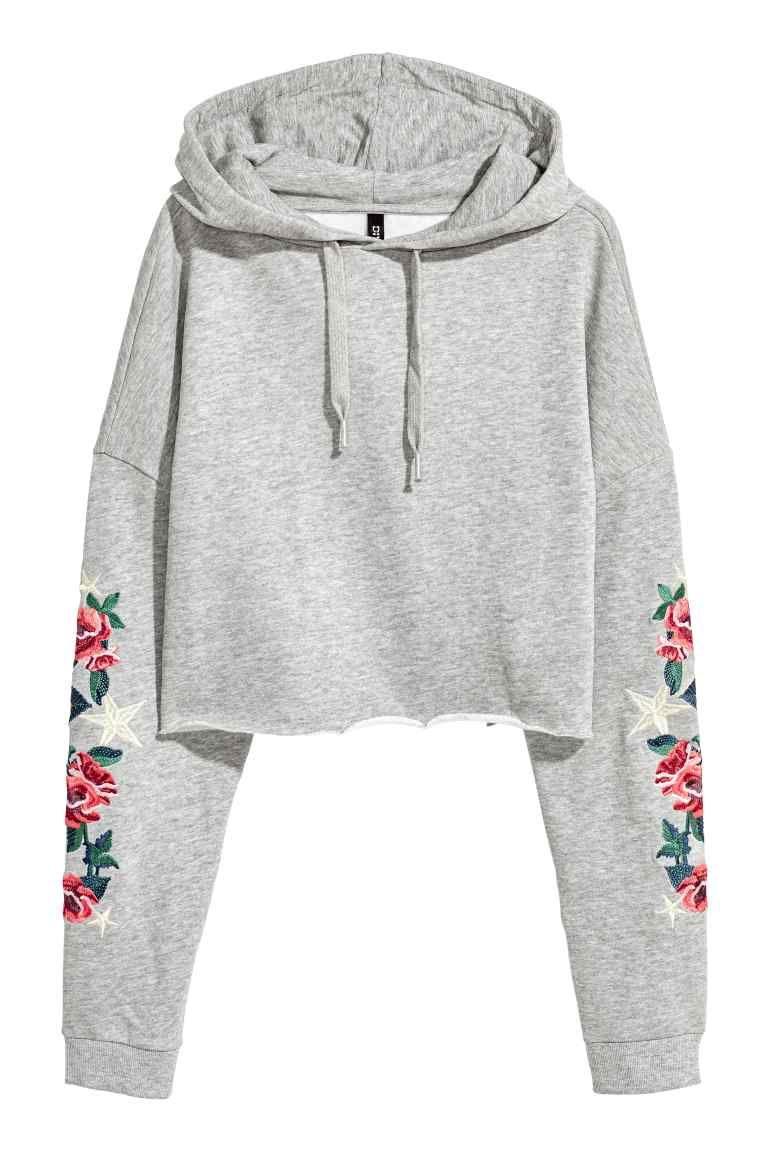6c390e0c62c9f Sweat-shirt à capuche court - Gris clair/fleurs - FEMME | H&M BE