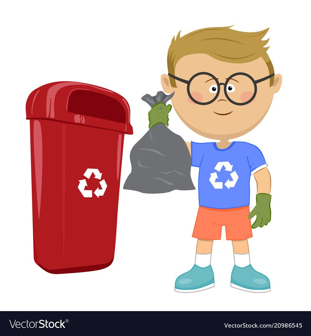 Little Boy Holding Stinky Trash Bag And Throwing It In Recycle Bin On White Download A Free Prev Art Drawings For Kids Recycling For Kids Farm Theme Preschool