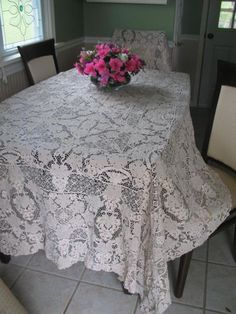 Antique Belgian Lace Tablecloth