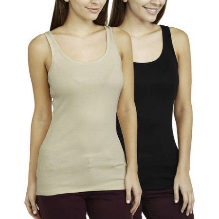 Faded Glory Women's Essential Layering Tank, 2 Pack Value Bundle, Size: Medium, Multicolor