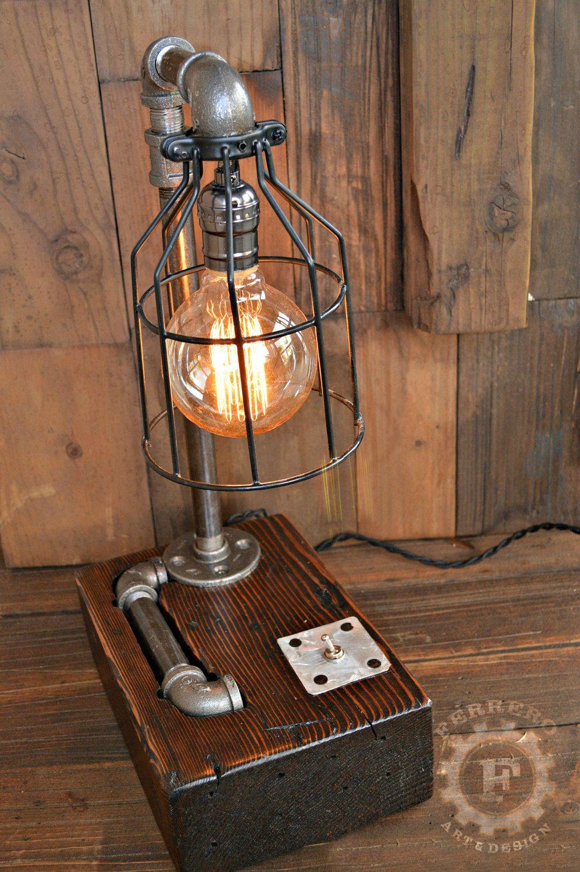 Steampunk Desk Lamp, Steampunk Decor, Desk Lamp, Steampunk Lamp, Reclaimed Wood, Upcycle Decor, Rustic Decor, Home Decor, Office Decor