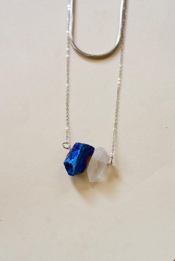 Rainbow Raw Quartz Crystal Necklace Silver by inhersummerdress, $20.00