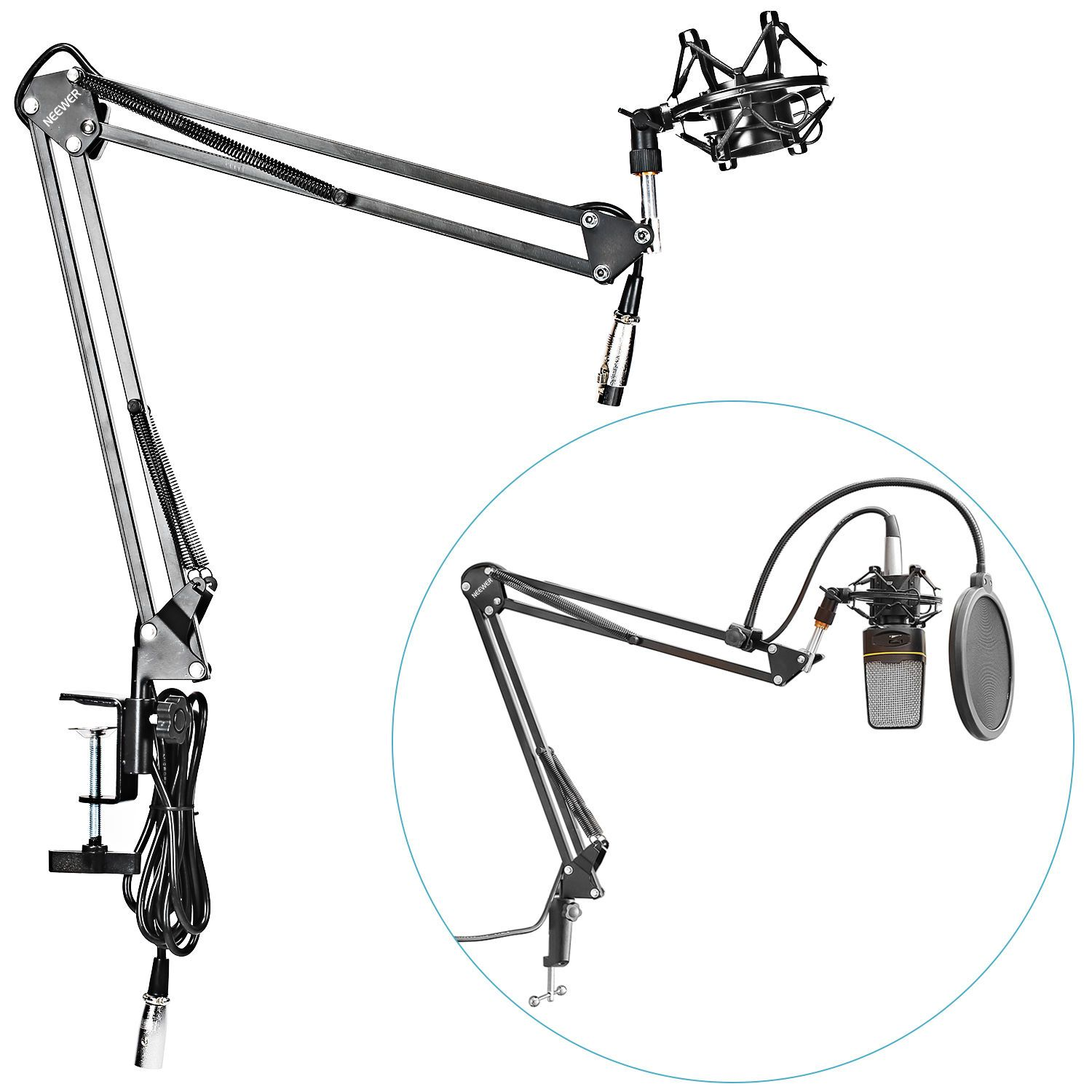 Neewer Microphone Suspension Boom Arm Stand W Shock Mount