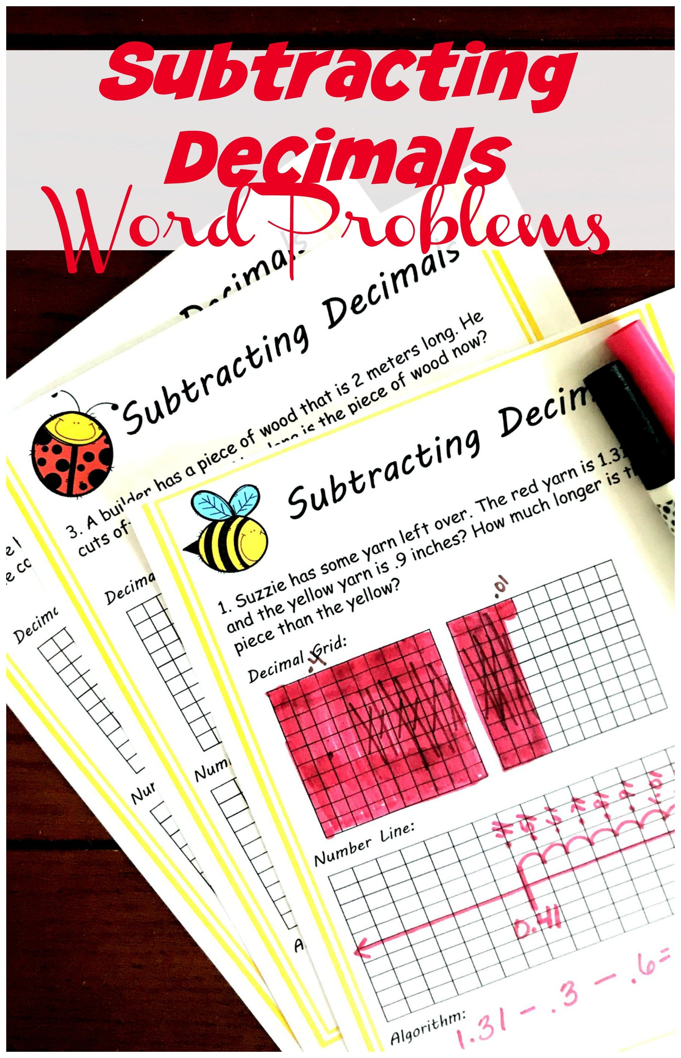 Free Hands On Subtracting Decimals Word Problems In