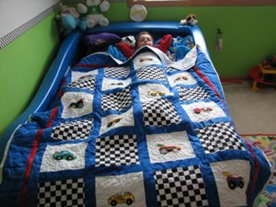 I Made This Quilt For My Son For His Birthday, It Goes Perfect With His Race  Car Bed! I Used My Janome Memory Craft 9700 Machine To Do The Applique,