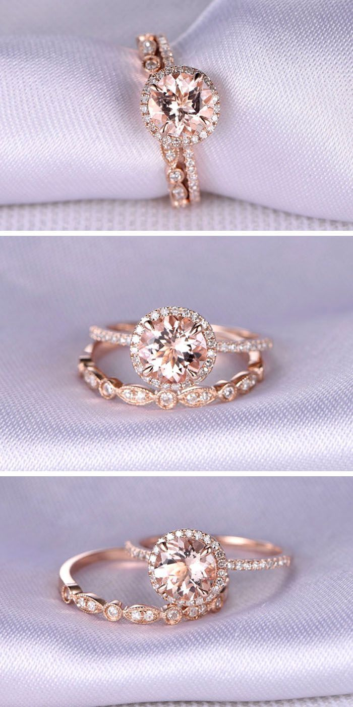 with set rings size real pink heart gold synthetic ring wedding bridal natural free itm sapphire claddagh diamond white