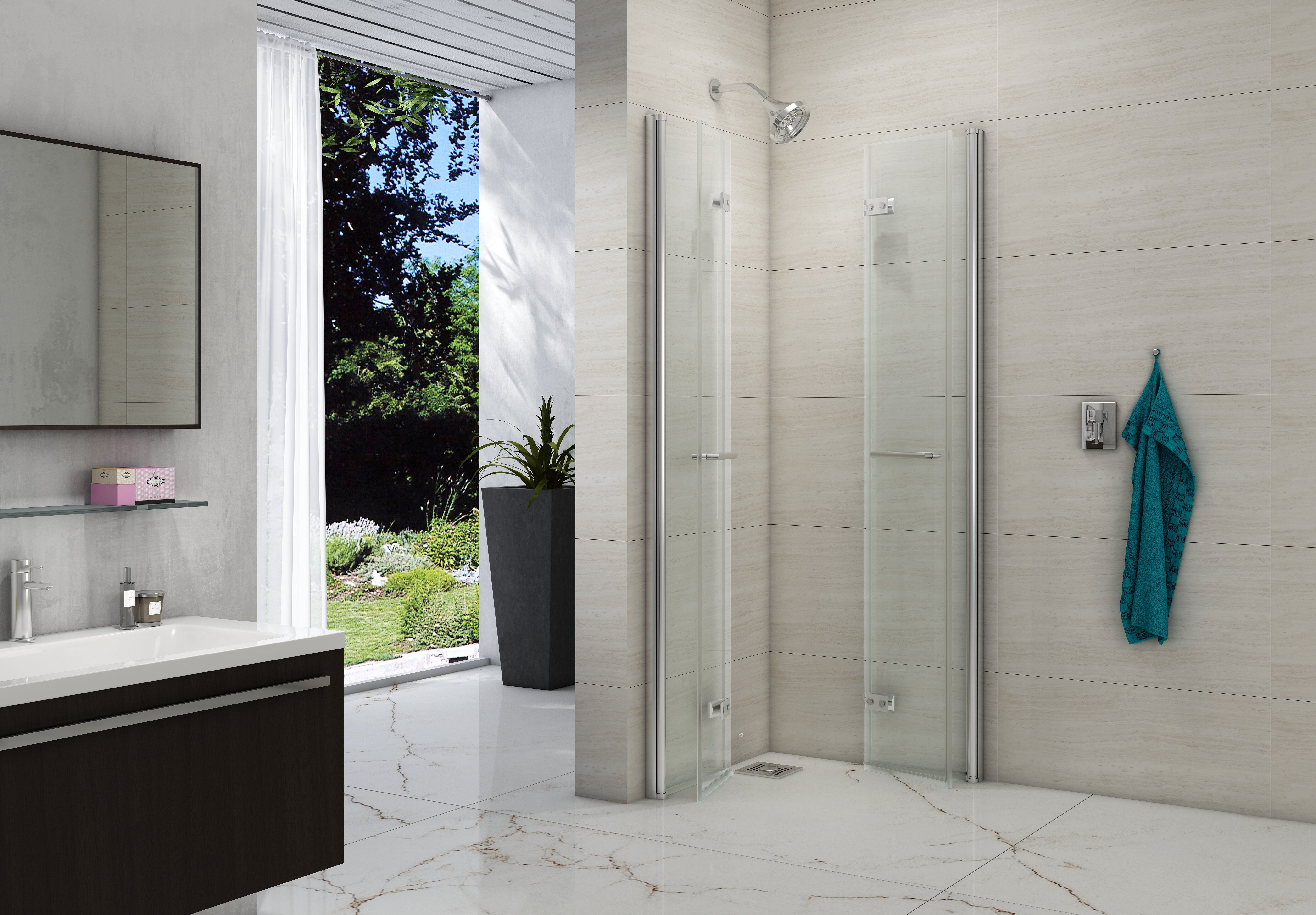 8 Series Folding Showerwall Merlyn Showering