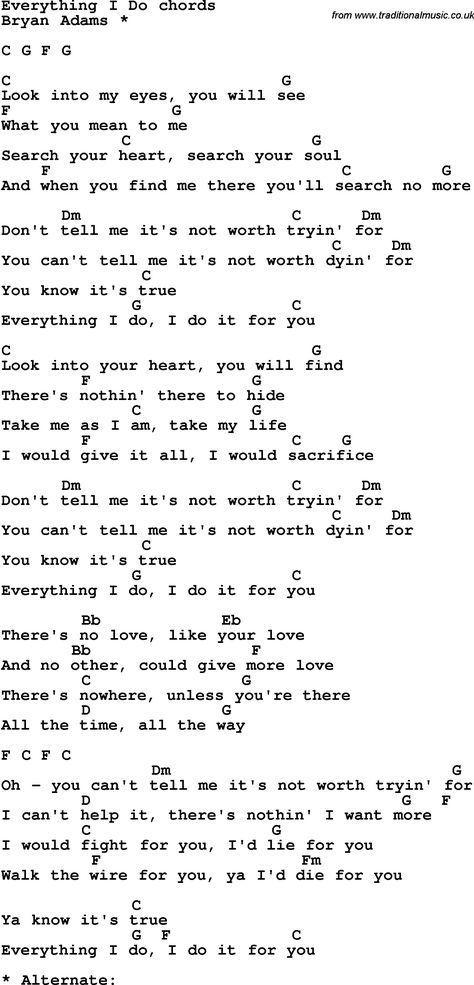 Song Lyrics With Guitar Chords For Everything I Do Ukelele