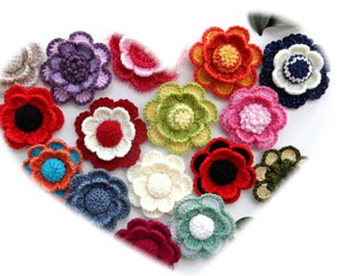 Crochet Flower Applique Corsage Brooch Any Colour Made To