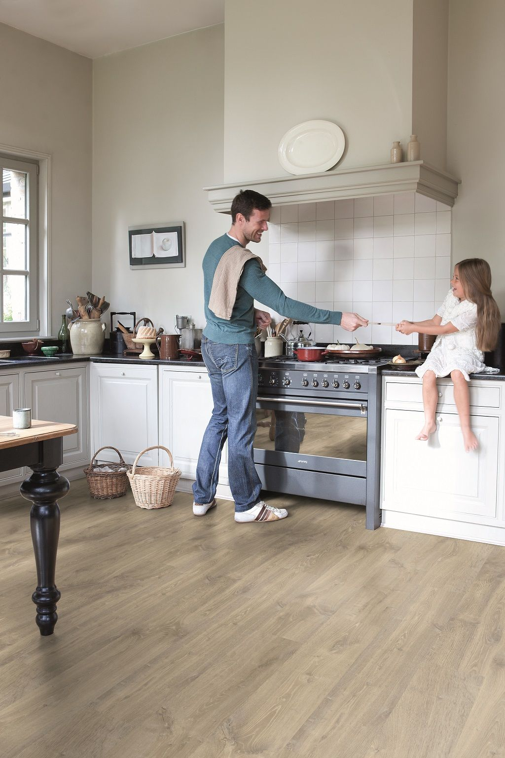 Waterproof Kitchen Flooring Quick Step Creo Louisiana Oak Beige Cr3175 Laminate Flooring