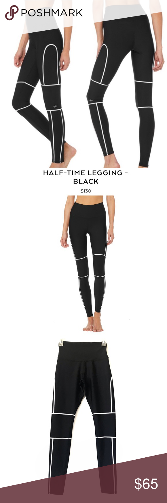 c3ae227361 ALO YOGA HALF-TIME LEGGING - BLACK Contour and sculpt with Half-Time Legging