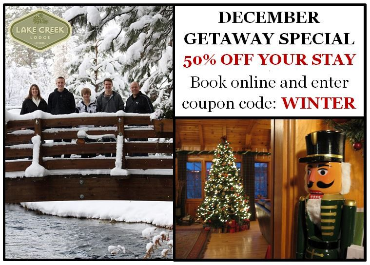 Receive 50% off of your stay when you book two nights or more mid-week or weekend, before the Holidays.   Complimentary cinnamon rolls and lattes included daily as well as champagne upon check-in.   Visit www.lakecreeklodge.com/specials.php for details. #VacationDeals #TravelDeals #LodgingDiscount #LodgingCoupon #CampShermanCabins #MetoliusRiverCabins #CentralOregonVacations #MetoliusDiscount #CampShermanDeal