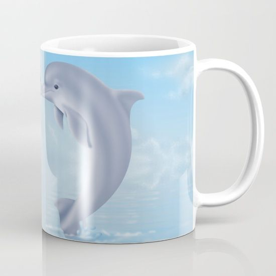 #dolphins #animals #wildlife #ocean #sea #blue #mugs available in different #homedecor products. Check more at society6.com/julianarw