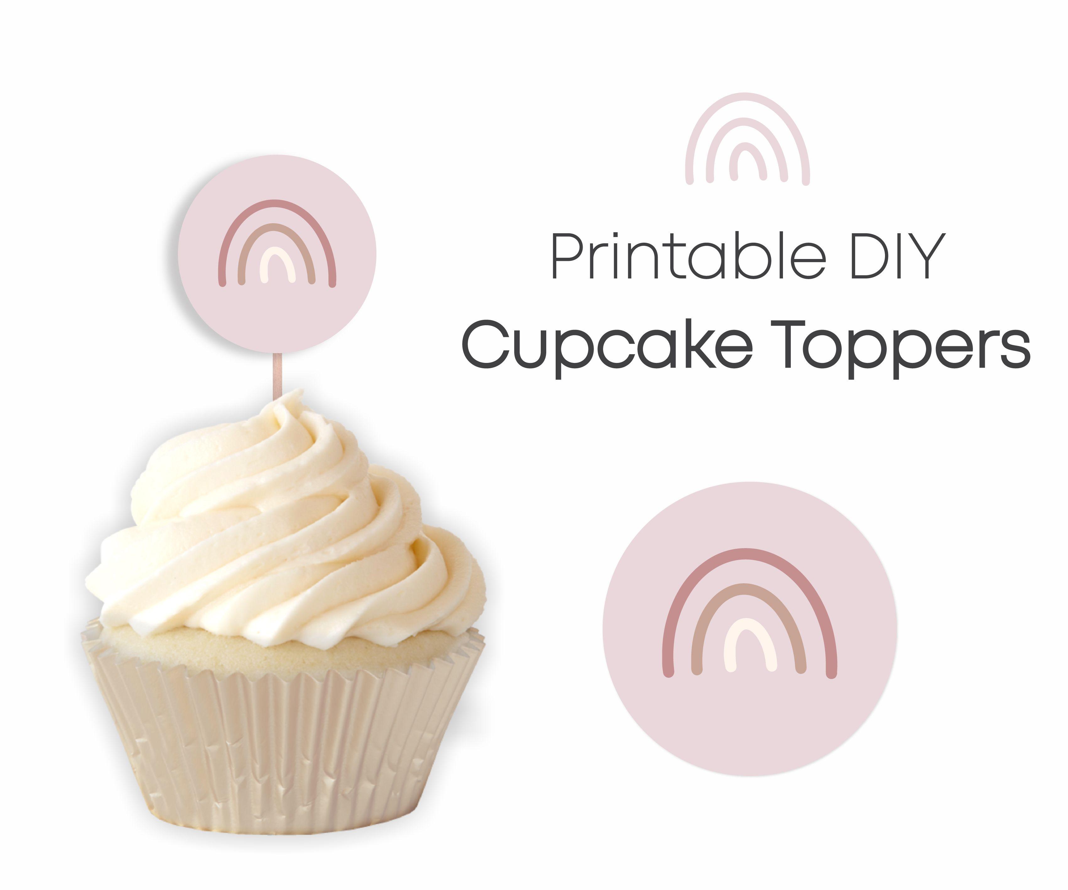 Printable Pink Rainbow Cupcake Toppers Baby Shower Birthday Girl