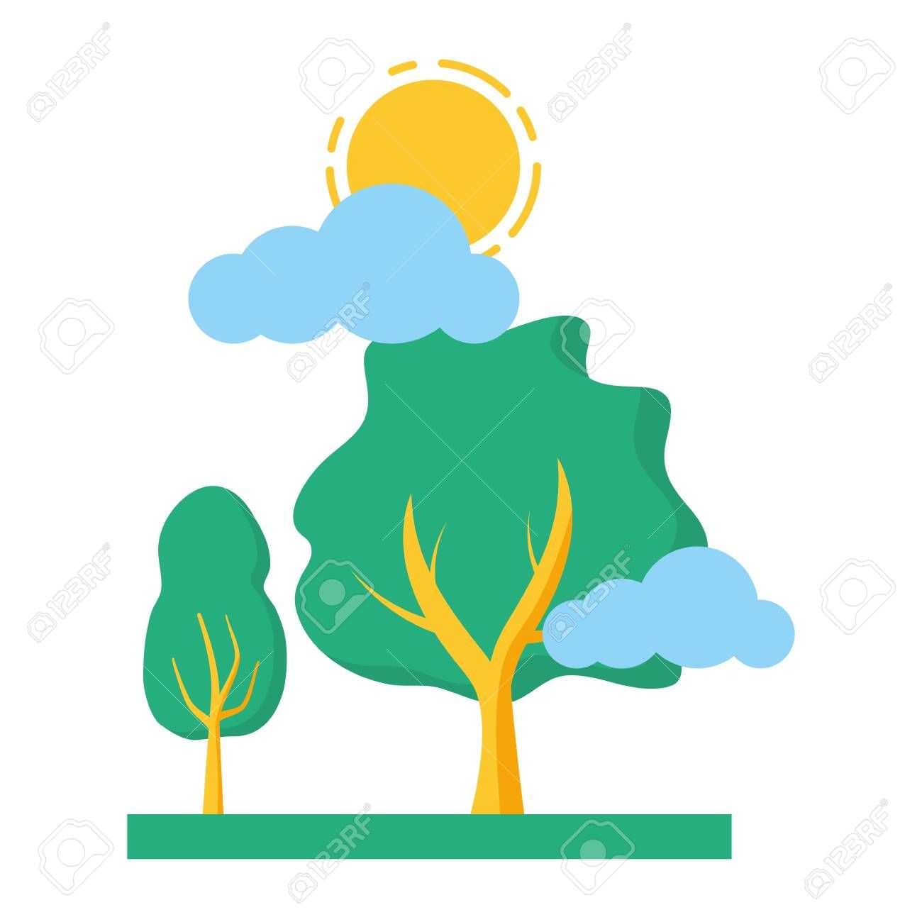 Trees Nature Sky Clouds Sun Vector Illustration Ad Sky