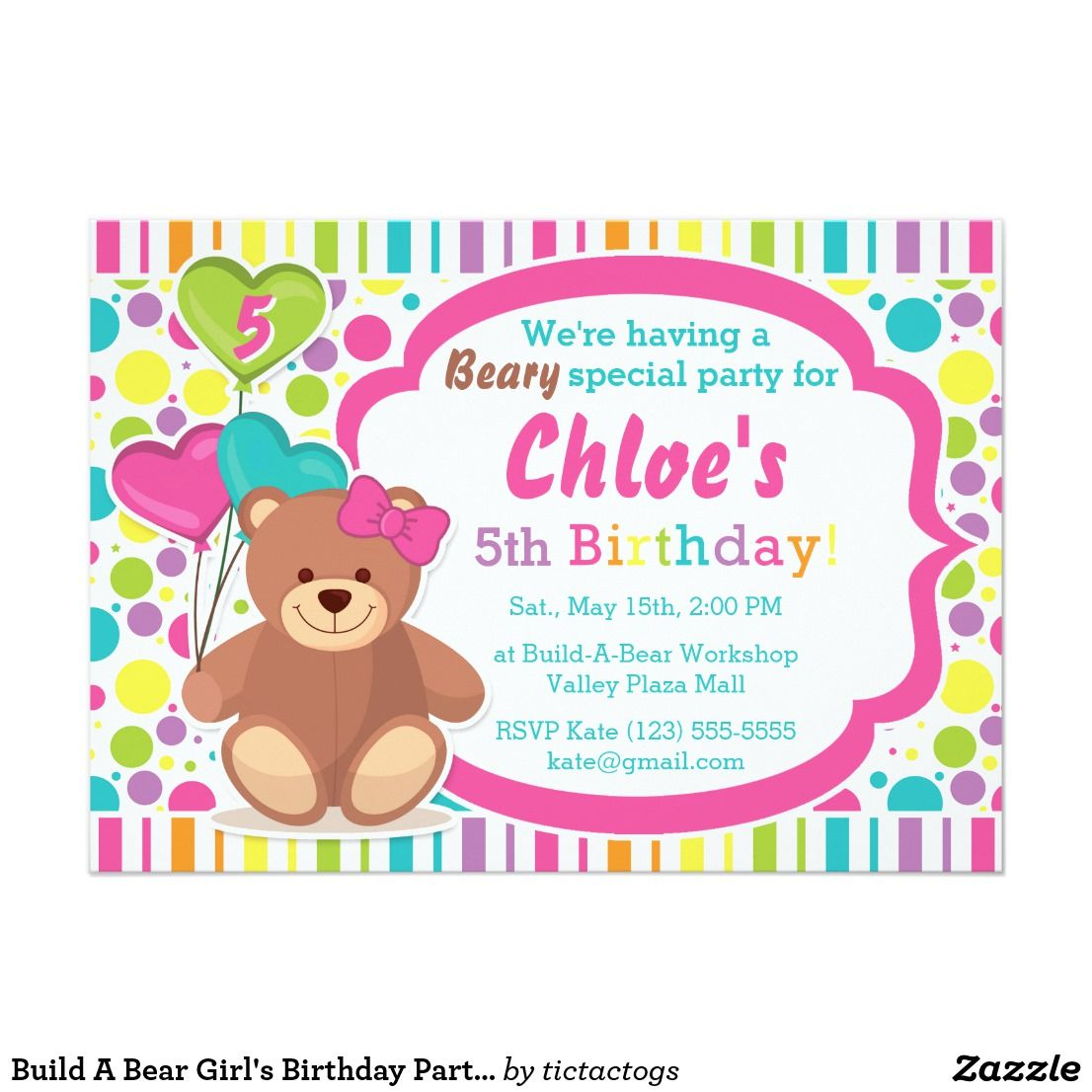 9701fde4567 Build A Bear Girl s Birthday Party Invitation Make a party beary special  with this colorful birthday invitation! Features rainbow stripes and dots  ...