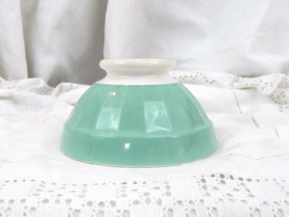 Vintage  French Digoin Cafe au Lait Bowl, with a Mint Green and White Glaze/ French Decor on Etsy, £20.25
