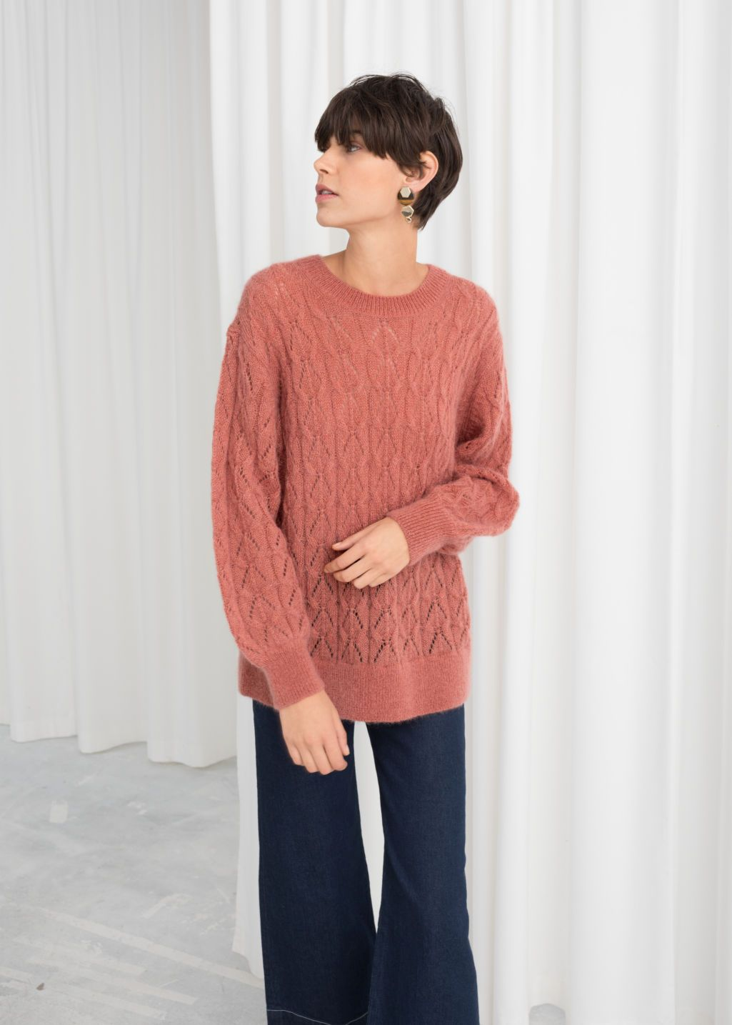 7393944ac7a Oversized Eyelet Knit Sweater - Salmon - Sweaters - & Other Stories ...