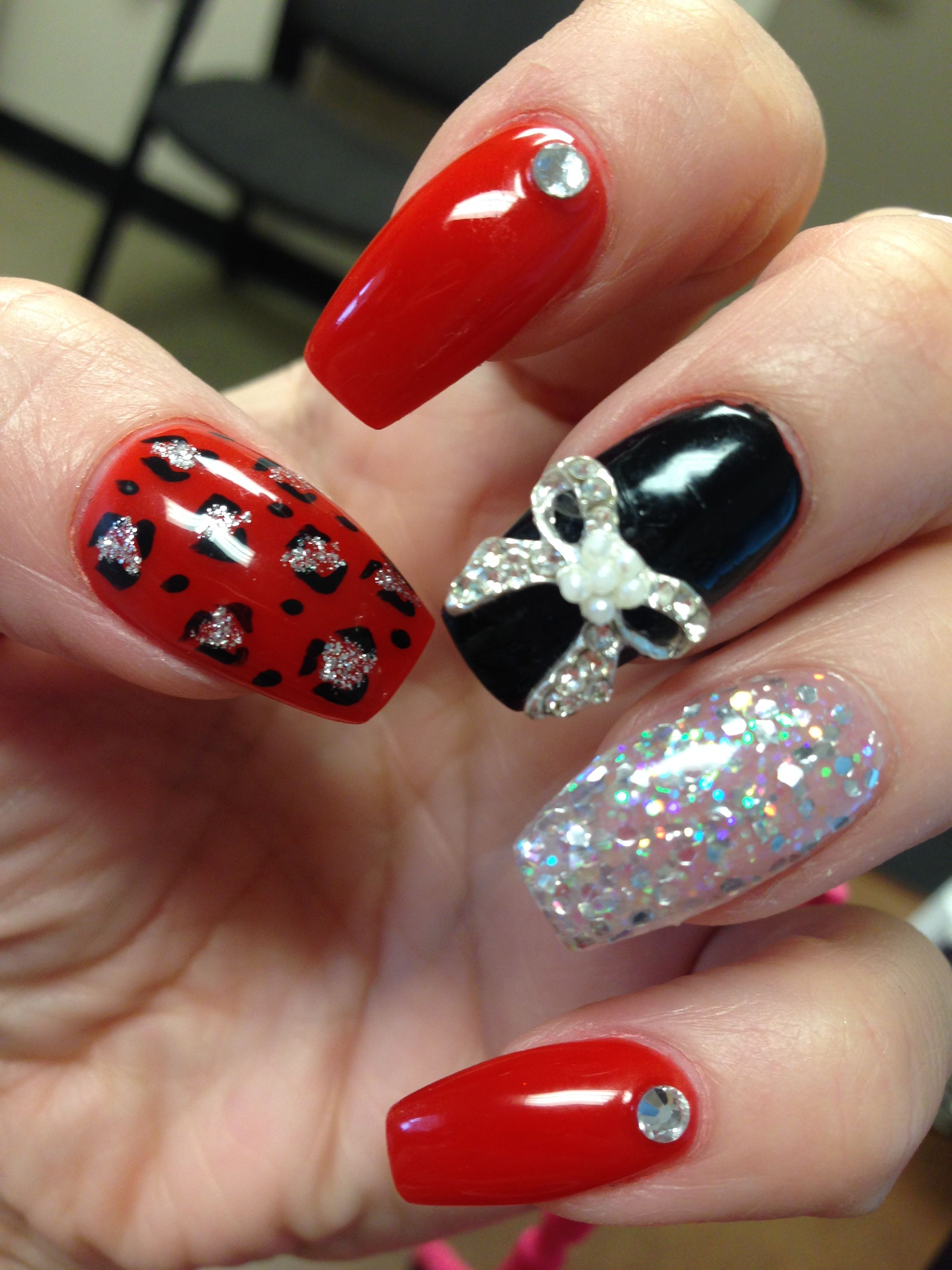Coffin Nails Red Black Silver Glitter Bling Cheetah Bow
