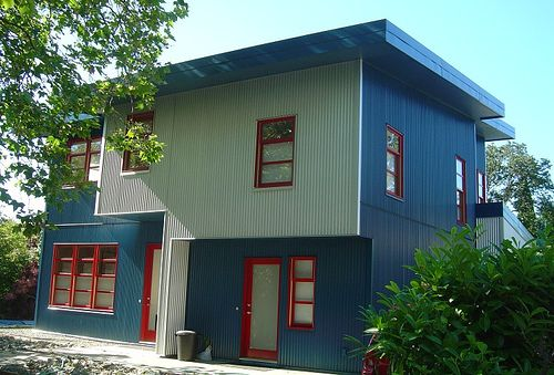 This is a new modern duplex house on Chandler Avenue in Victoria, BC, Canada.