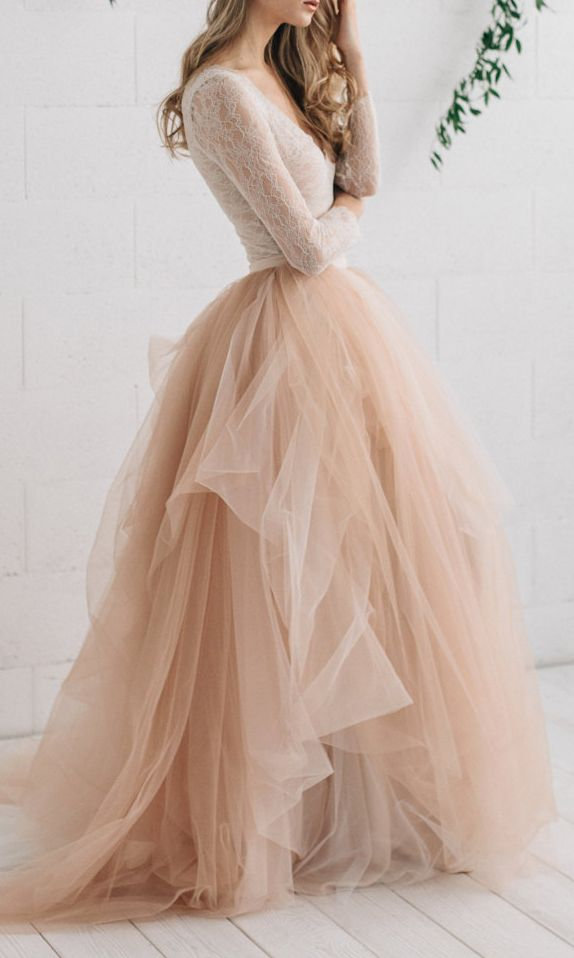 Champagne Ivory Wedding Dress Pink