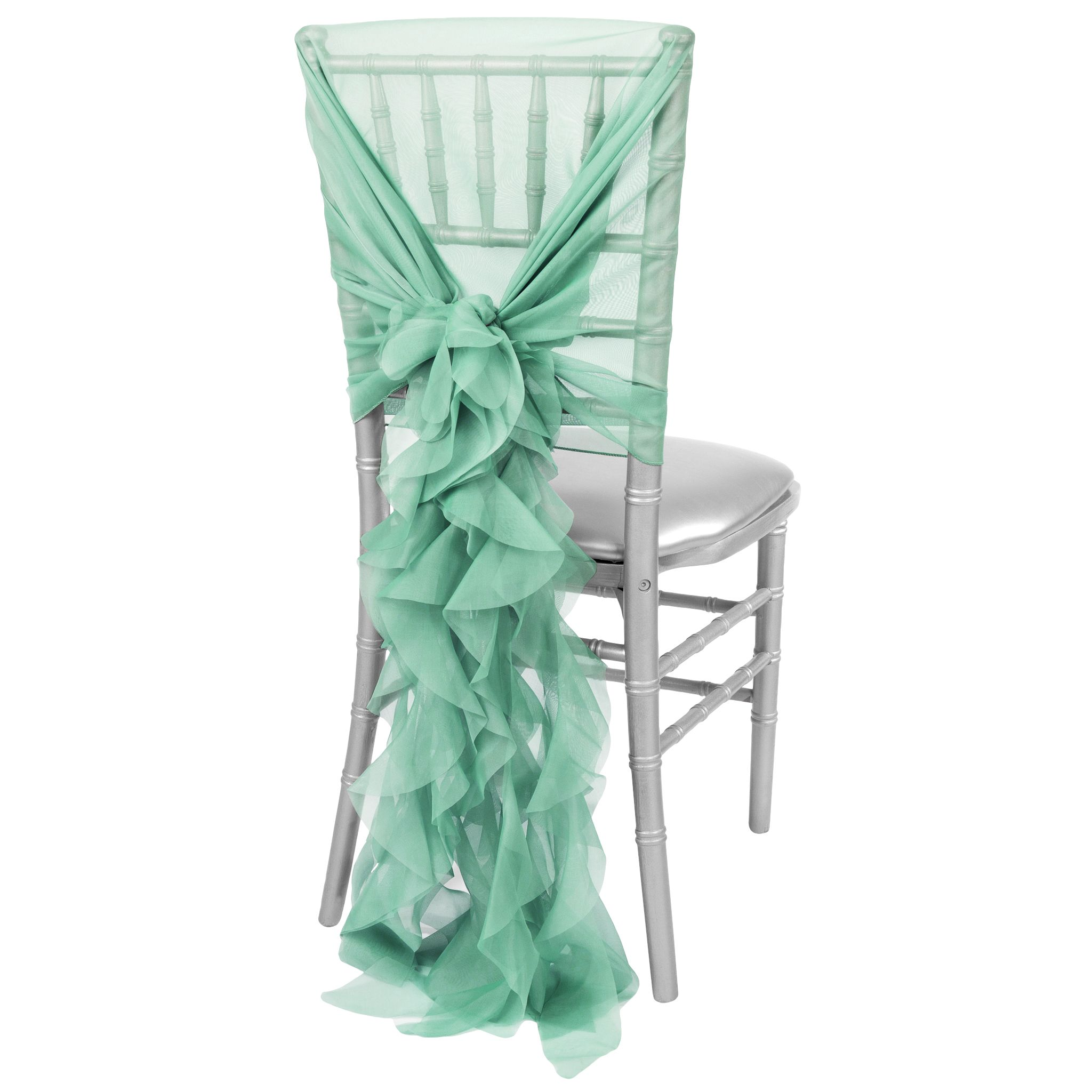 1 Set Of Soft Curly Willow Ruffles Chair Sash & Cap