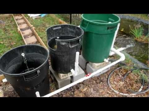Cheap diy bio pond filter that works youtube pond for Pond filter system diy