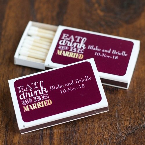 In love, a spark is just the start! The same is true with these personalized wedding matchboxes.
