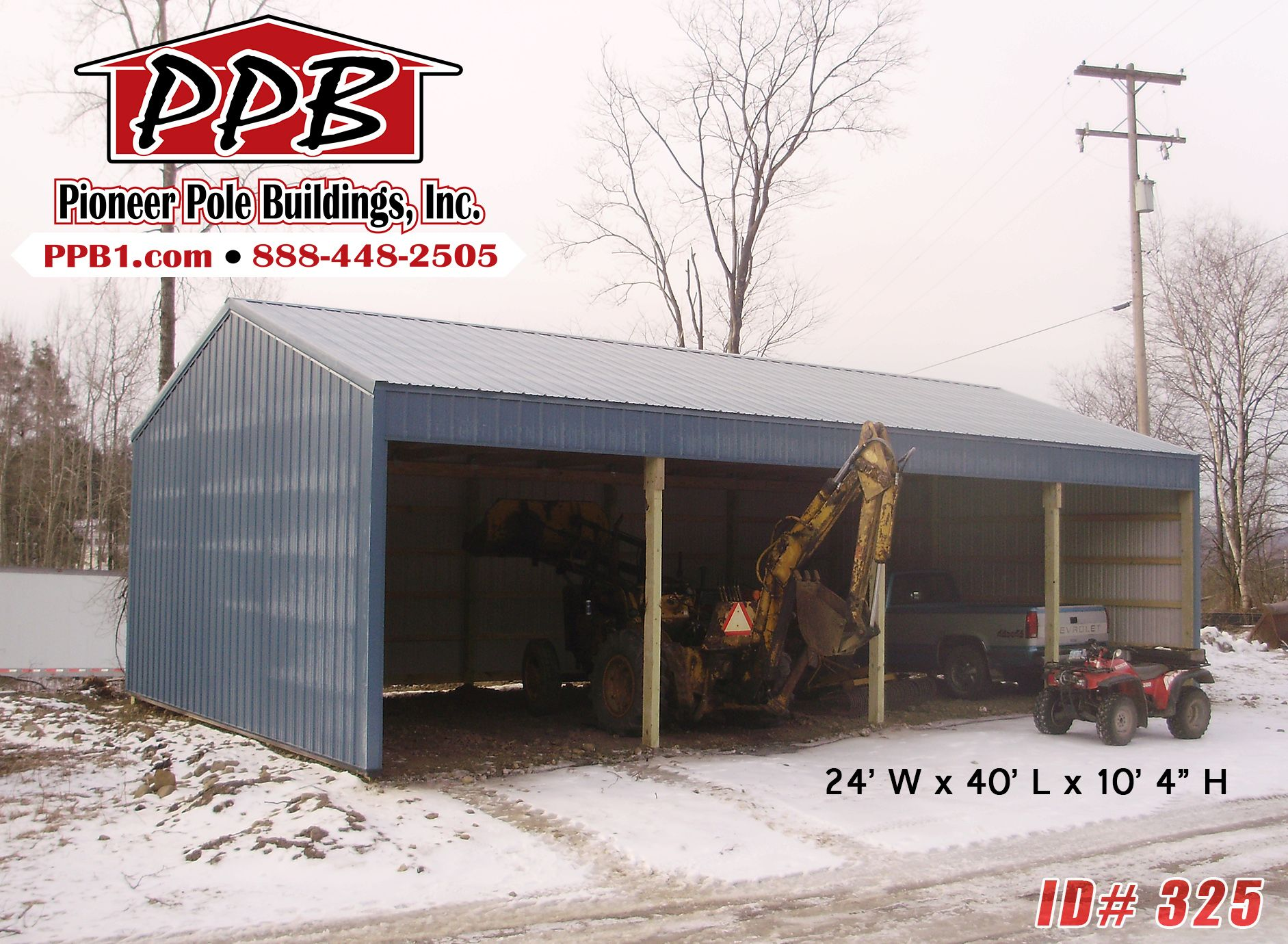 Keep Your Farm Equipment Out Of The Snow With A 3 Sided Building From Pioneer Dimensions 24 W X 40 L Barn Garage Plans Pole Buildings Classic Architecture
