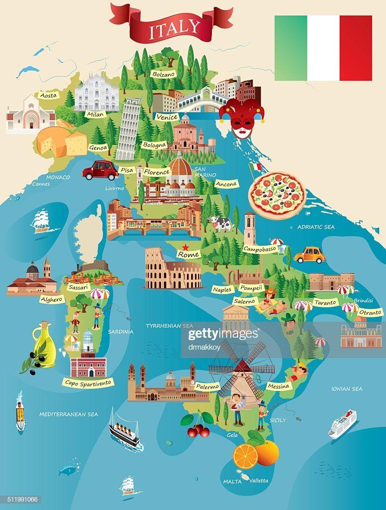 Cartoon Map Of Italy In 2020 Italien Karte Italien Reisen Und