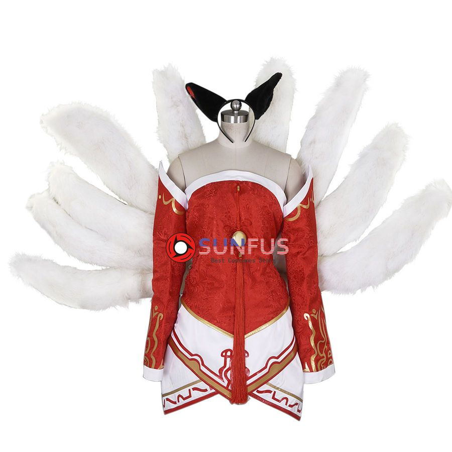 New Legends LOL Ahri Nine-Tailed Cosplay new Tails Halloween dress up Girl sets